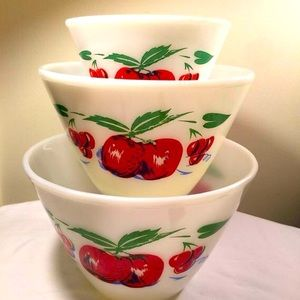 Rare FireKing Apples and Cherries Nesting bowls